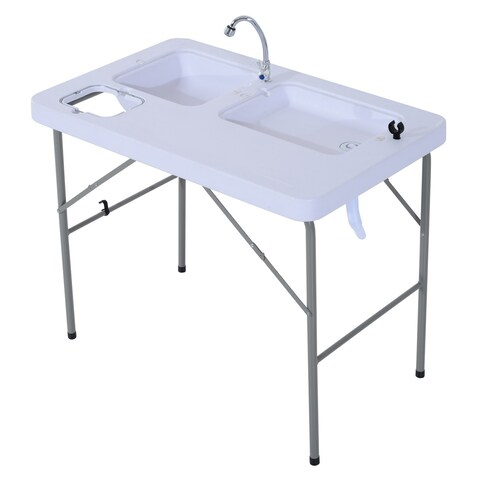 Outsunny Portable Folding Camping Table with Sink