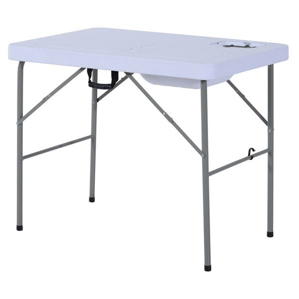 Camp Sink With Faucet.Shop Outsunny Portable Folding Camping Table W Faucet