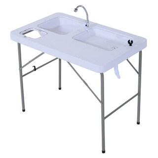 Outsunny Portable Folding Camping Table with Faucet