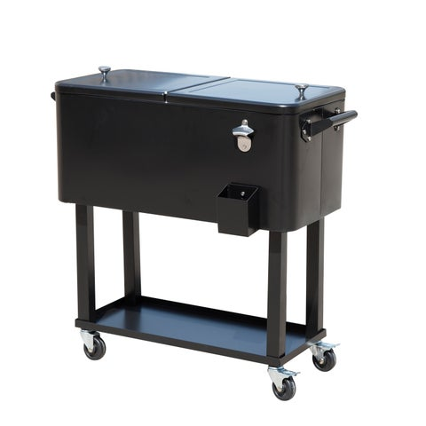 Outsunny Rolling Ice Chest Portable Patio Party Drink Cooler Cart