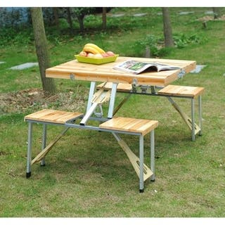 Outsunny 4 Person Wooden Folding Suitcase Picnic Table