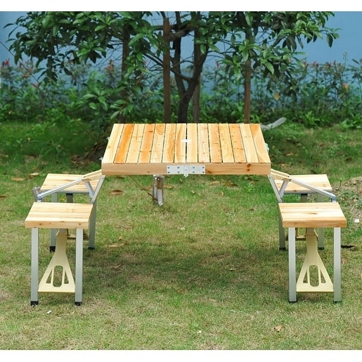 Shop Outsunny 4 Person Wooden Folding Suitcase Picnic Table Set with  Umbrella Hole - On Sale - Free Shipping Today - Overstock.com - 18004857 - Shop Outsunny 4 Person Wooden Folding Suitcase Picnic Table Set With