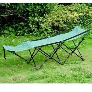 Outsunny Deluxe Folding Camping Cot with Carrying Bag - Green