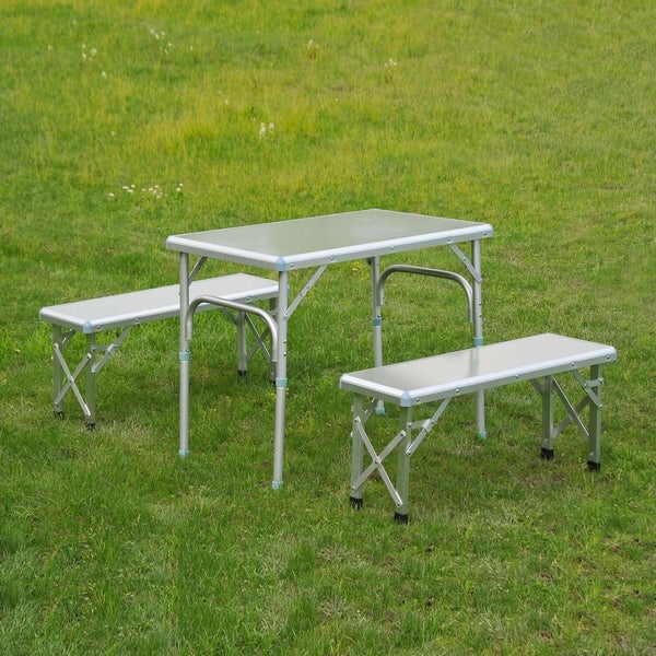 Table With Bench Seats: Shop Outsunny Portable Outdoor Picnic Table With Folding