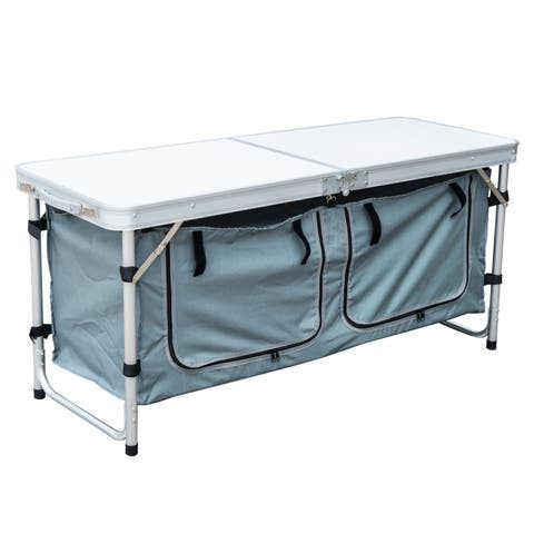 Outsunny Aluminum Folding Camp Table with Carrying Handle and Storage Organizer