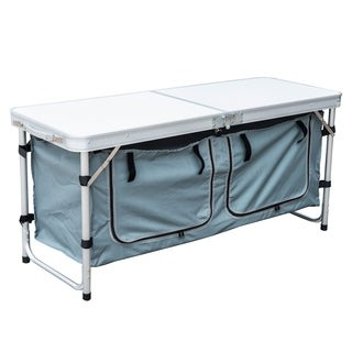 Outsunny Aluminum Camping Folding Camp Table with Carrying Handle and Storage Organizer