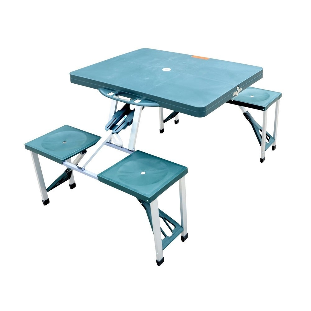 Outsunny Height Adjustable Folding Outdoor Picnic Table w// 4 Seats Natural Wood and Silver
