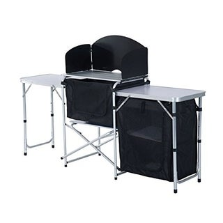 Outsunny Portable Fold Up Camp Kitchen with Windscreen
