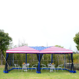 Outsunny Pop Up Canopy Shelter Party Tent with Mesh Walls - N/A