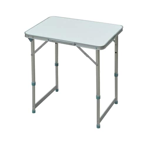"Outsunny 23"" Aluminum Lightweight Portable Folding Easy Clean Camping Table with Carrying Handle & Height Adjustability"