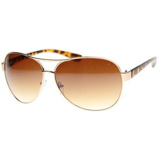MLC Eyewear Thick Frame Retro Classic Fashion Aviator Sunglasses Model: NGF762 (Option: Amber - Gold - Gold)