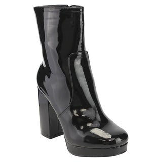 Beston EI87 Women's Side Zipper Wrapped Platform Chunky Heel Ankle Vegan Booties