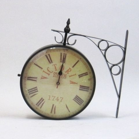 Benzara Black Iron Vintage-styled Railway Clock Victoria 1747
