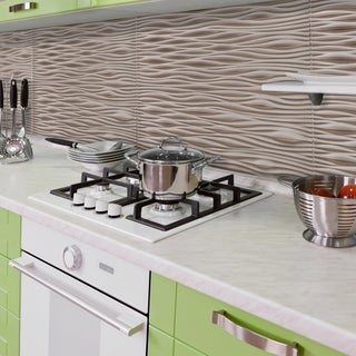 Innovera Décor by Palram Wilderness Brushed Nickel 18.5-in. x 24.3-in. Backsplash Panel (6 pcs)