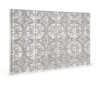 Innovera Decor by Palram Empire Crosshatch Silver 18.5-in. x 24.3-in. Backsplash Panel