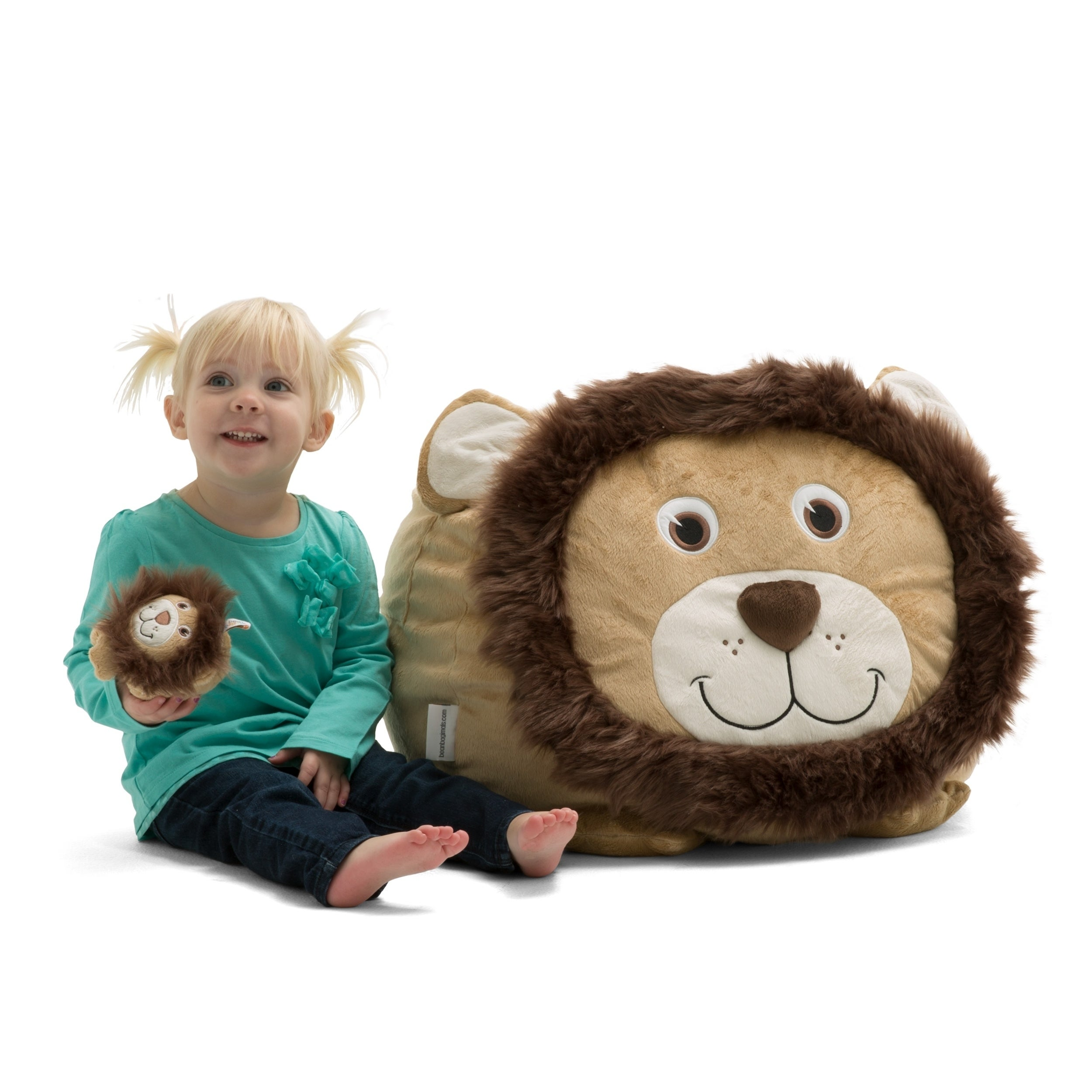 Big Joe Bagimal, Leo the Lion (Microsuede - Brown - Polystyrene Beads - Kids - Spot Treat - Solid - Microsuede - Childproof Closure - Small -