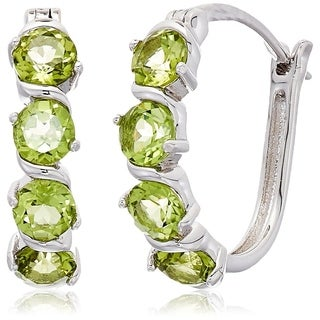 "Sterling Silver Peridot Hoop Earrings, 1"" - Green"