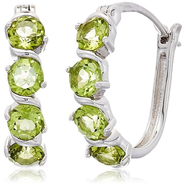 Pinctore Sterling Silver Peridot Hoop Earrings 1 Green