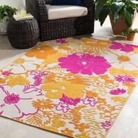 "Trocadero Yellow Oriental Floral Area Rug - 5'3"" x 7'3"""