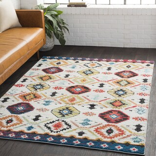 Ludmilla Bohemian Global Shag White Area Rug (5'3 x 7'3)