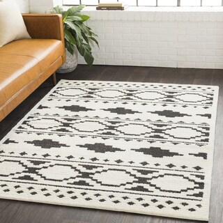 Amerigo Bohemian Global Shag White Area Rug - 5'3 x 7'3