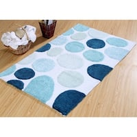 Saffron Fabs Bath Rug, Cotton, 50x30, Latex Spray Non-Skid Backing, Multicolor Pebble Stone Pattern, 190 GSF, Machine Washable