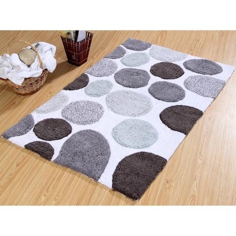 Bath Rug Cotton Non-Skid Backing Multicolor Pebble Stone