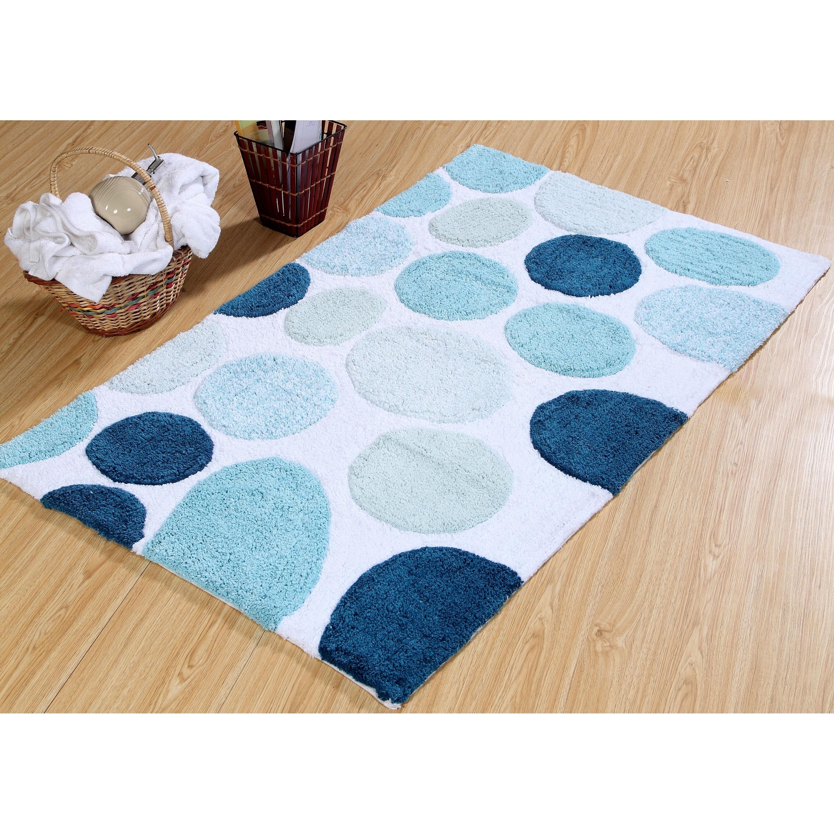 Bath Rug Cotton Non Skid Backing Multicolor Pebble Stone