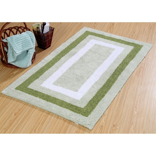 Saffron Fabs Cotton Bath Rug Size 50x30 Reversible Machine Washable