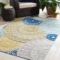 Trocadero Olive Contemporary Medallion Area Rug - 7'10 x 10'3