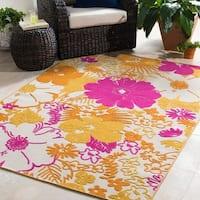 Trocadero Yellow Oriental Floral Area Rug (7'10 x 10'3)