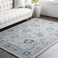 Huavied Traditional Oriental Navy Area Rug - 7'10 x 10'3