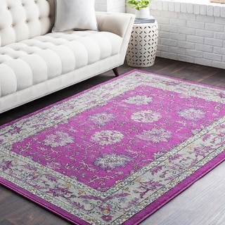 "Huavied Traditional Oriental Bright Purple Area Rug (7'10"" x 10'3"")"