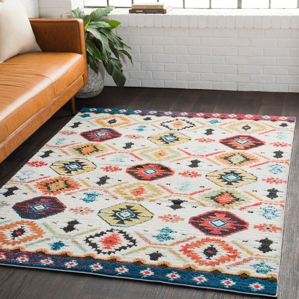 "Ludmilla White Bohemian Global Shag Area Rug - 6'7"" x 9'6"""