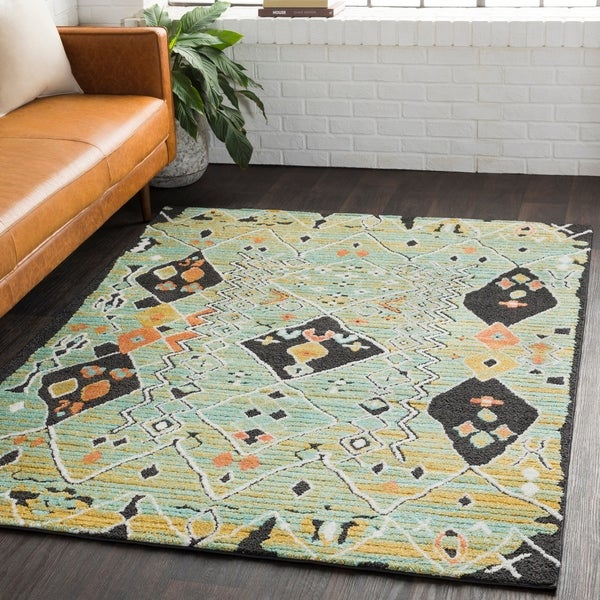"Boho Abstract Seafoam Green Indoor Area Rug - 6'7"" x 9'6"""