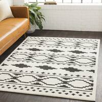 Amerigo Bohemian Global White Shag Area Rug - 6'7 x 9'6