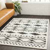 Amerigo Bohemian Global White Shag Area Rug