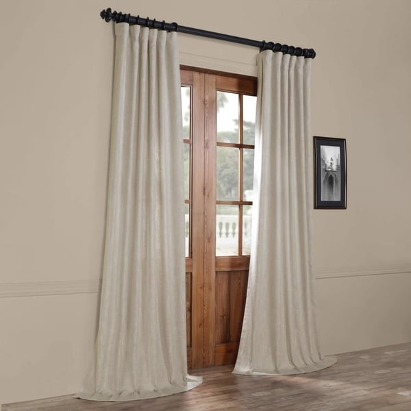 Exclusive Fabrics Heavy Grey Faux Linen Curtain. Opens flyout.
