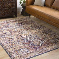 The Curated Nomad Linden Oriental Distressed Classic Navy Area Rug (9'6 x 13'6)