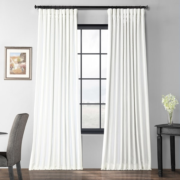 Exclusive Fabrics Gleaming Sugar Blackout Extra Wide Faux Silk Taffeta Curtain