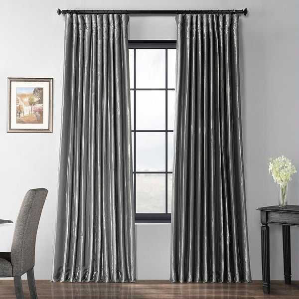 Exclusive Fabrics Polished Silver Blackout Extra Wide Faux Silk Taffeta Curtain