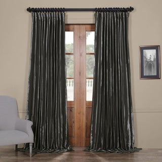 Exclusive Fabrics Burnished Hematite Grey Taffeta Extra Wide Blackout Curtains