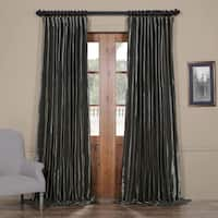Exclusive Fabrics Burnished Hematite Blackout Extra Wide Faux Silk Taffeta Curtain