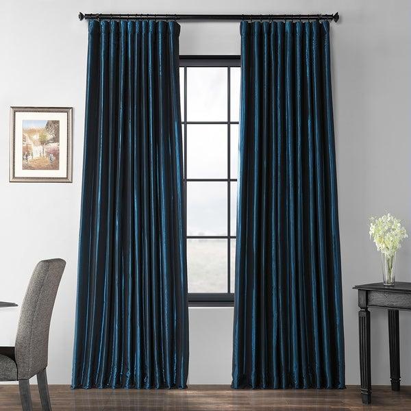 Exclusive Fabrics Glossy Cobalt Blackout Extra Wide Faux Silk Taffeta Curtain