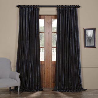 Exclusive Fabrics Glossy Cobalt Blackout Extra Wide Faux Silk Taffeta Curtain