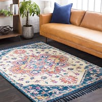 Boho Cream/Navy Medallion Tassel Area Rug - 2' x 3'