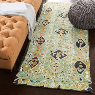 "Boho Abstract Seafoam/Green Runner Area Rug - 2'7"" x 7'3"" Runner"