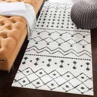 Salcedo Bohemian Global White Shag Runner Rug (2'7 x 7'3)