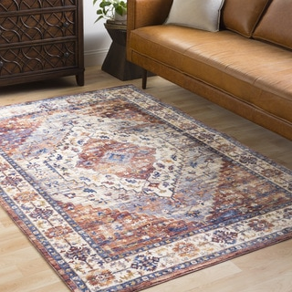 "Ekaterine Oriental Burnt Orange Distressed Runner Area Rug - 3' x 10'3"" Runner"