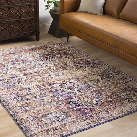 """The Curated Nomad Linden Oriental Distressed Classic Navy Runner Rug - 3' x 10'3"""" Runner"""